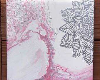 Mandala Acrylic Canvas Painting - 10 x 10 - Wall Art - Boho Hippie Decor - Yoga - Bohemian - Home Office Studio Decor - Zen - Wall Hanging -