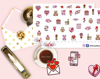 Valentine Icons Sticker, Love Romance Planner Sticker, Romantic Heart Sticker, Scrapbook Sticker, Planner Accessory - 29 Stickers
