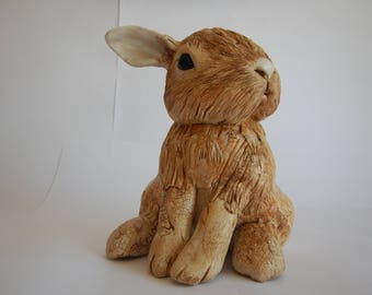 Ceramic Sculpture Curious Rabbit