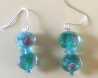 Blue with pink rosettes earrings