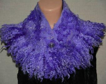 Felt women accessory Felt purple scarf Merino wool scarf Felted clothing Women festival collar Ultra violet Fur stole Fur shawl Trending now