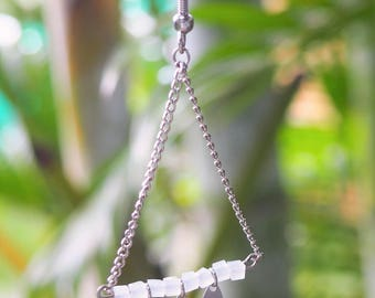 Earrings are made of silver and pearls