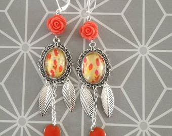 Earrings cabochon feathers bohemian chic orange yellow hippie chic