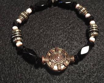 Simple Black Beaded Bracelet