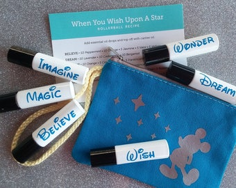 When You Wish Upon A Star Rollerball Roller bottle Set with bag, Believe, Wish, Dream, Wonder, Imagine, Magic