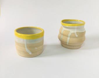 Yellow Ceramic Cup Pair