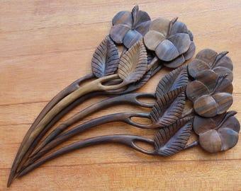 Flower Hair Pin, 1 Prong Wood Hair Sticks, Hair Fork, Hair Accessories HS32