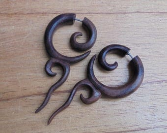 Fake Gauge Earrings, Tribal Fake Earrings, Wood Fake Earrings, Wooden Accessories, Bali Jewelry, Sono 05NP4