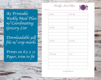 A5 Printable Weekly Meal Plan Template w/ Coordinating Grocery List, Meal Planning