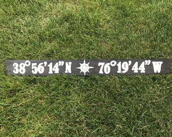 Latitude Longitude Coordinates Sign - Kent Island - Maryland