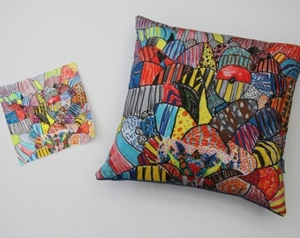 SquiggleScatter: personalised 50x50cm cushion made with your art