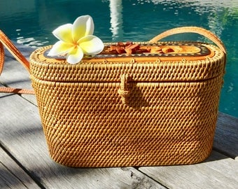 Mia Bucket Woven Rattan Bag, Shoulder Bag, Crossbody Bag, Basket Bag