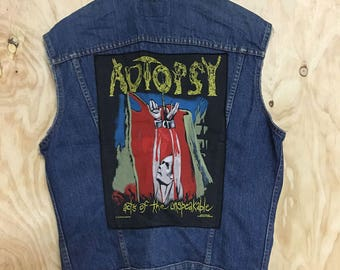 Vintage Levis Cut Off sleevless Denim Vest w/ back band patch