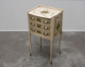 Hand painted  nighstand with floral detail End table side table French Provincial bedside table