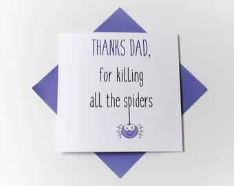 happy father's day|funny|spider|handmade|card for her|card for him|blank greetings card