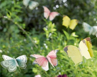 Butterfly Bunting, Fairy wedding, whimsical bridal baby shower, girls first birthday, garden tea party, Butterfly party, butterfly garland