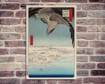 Japanese print. Old Japanese print poster. Utagawa Hiroshige.