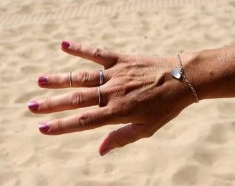 Handmade silver bracelet with heart charm