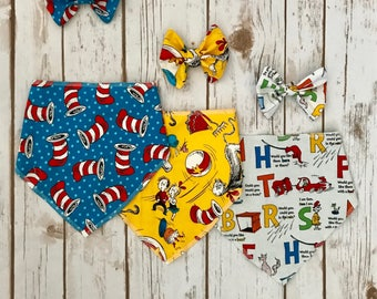 Dr. Seuss inspired Bib and Bow set (also sold separately)