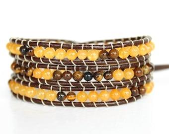 Yellow Quartzite Stone & Tigers Eye Beaded Leather Wrap Bracelet, Triple Wrap Leather Bracelet, Wrap Bracelet Leather, Beaded Wrap Bracelet