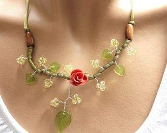 Necklace branch ochre red flower beads