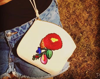 Kit ASTRIDE pouch large embroidered flower pattern