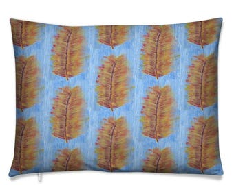 Soft Cushion- Heliconia Leaf Multi colour on Blue