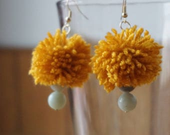 Handmade Yellow Pom Pom Earrings