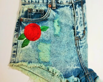 Hand Embroidered Green with Rose High Waisted Denim Shorts