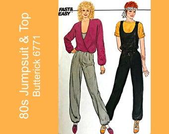 80s Vintage Jumpsuit Overalls & loose fitting top, Misses sewing pattern Butterick 6771 blouson top, Size 12-16, Bust 34-38, UNCUT FF