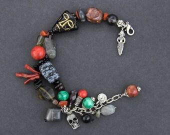 Goddess Kali Bracelet, Goddess of New Beginnings, Power & Transformation, Labradorite, Snowflake Obsidian, Smokey Quartz, Healing Jewelry