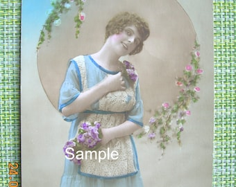 Original French Post Card; Lady with flowers. #4089 FREE UK SHIPPING