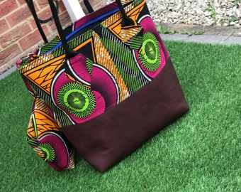 Large Burgundy Ankara Large Tote Bag with Matching purse