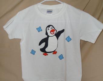 kids shirt, hand painted, penguin design