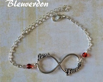 Bracelet infinity best friends, and red beads