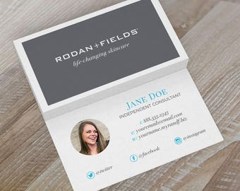 """Rodan & Fields Business Cards - """"CEO"""" Two-Sided Grey and Blue with Picture"""