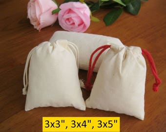 100 Calico Bags Jewelry Packaging Cotton Muslin Bags Gift Bags 3x3, 3x4, 3x5 Drawstring Bags