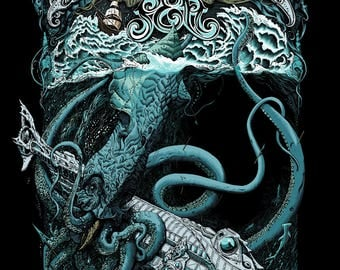 Andrew Ghrist, 20,000 Leagues Under The Sea, Limited Edition, Print, Art, Variant, Screenprint