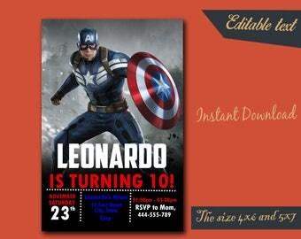 Captain America Invitation,Captain America Birthday,Captain America Birthday Invitation,Captain America Party,Captain America Editable-F14