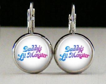 Harley quinn Glass bezel earrings superhero earrings daddys lil monster jewelry gift photo earrings photo jewelry glass jewelry
