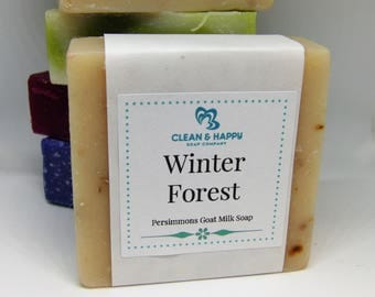 """Handmade """"Winter Forest"""" Christmas tree scent Goat Milk Soap by Clean & Happy (1 bar of soap)"""