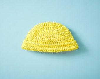 Crocheted Bright Yellow Baby Hat