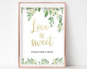 Love is Sweet Sign Dessert Table Sign Take a Treat Sign Dessert Sign Printable Party Sign Candy Bar Sign 4x6, 5x7, 8x10 PDF Instant Download