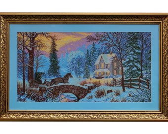 """Beaded embroidered picture """"winter"""""""