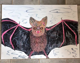 Original Watercolour Red Bat