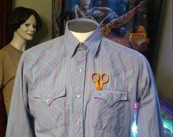 Vintage Ely Plains Western Shirt/Vintage Blue Western Shirt/Vintage Striped Western Shirt. Made in Korea.