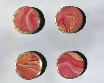SALE! Sunset Marble Magnet Set - 4 pcs - Ready To Ship!