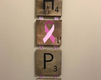 Breast Cancer Hope Scrabble Letters