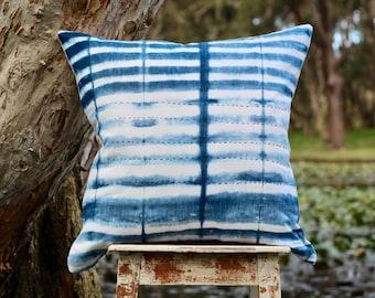 Cushion, shibori cushion, indigo cushion, large cushion, small cushion, hand dyed cushion, Indigo dyed shibori bamboo cushion, hand stitched