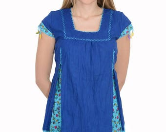 Blouse embroidered. 100% Cotton Batiste. Handmade lace. 5 colors.